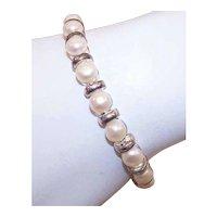 Vintage Sterling Silver Freshwater Cultured Pearl Bracelet