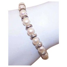 Vintage STERLING SILVER Bracelet -  Freshwater Pearl, Bridal Jewelry