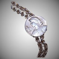 Edwardian FRENCH SILVERPLATE Necklace Slider Latch - Joan of Arc Front!