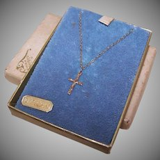 Vintage CHILD SIZED 10K Gold Cross on Chain in Original Box!