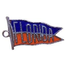 Vintage Sterling Silver Red Blue Enamel Pennant Charm - Florida