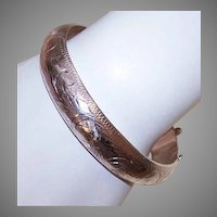 Vintage STERLING SILVER Etched Bangle Bracelet - 19.9 Grams!