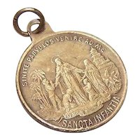 Antique Gold Tone Metal Religious Medal or Charm - Bringing Christianity to Africa & Asia