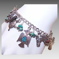 Vintage Western-Inspired STERLING SILVER Charm Bracelet with 17 Charms!