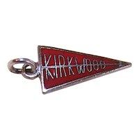 Vintage Sterling Silver Red Enamel Pennant Charm - Kirkwood