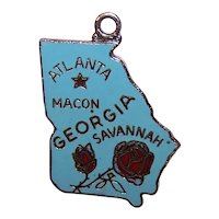Silverplate Enamel USA State Charm - Georgia