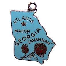Silverplate Enamel USA State Charm - Georgia