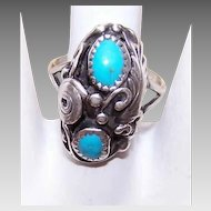 Vintage STERLING SILVER & Turquoise Ring - Designer Signed/R. Tom!
