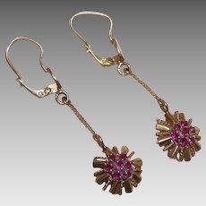 ART DECO 18K Gold & Ruby Drop Earrings!