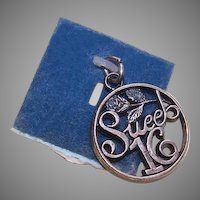 Vintage STERLING SILVER Charm by Wells - Sweet Sixteen!