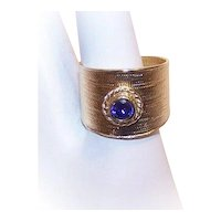 Sterling Silver Gilt Amethyst Cigar Band Ring Wedding Ring