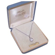 C.1960 THEDA Sterling Silver & Synthetic Spinel Pendant Necklace w/Original Box!