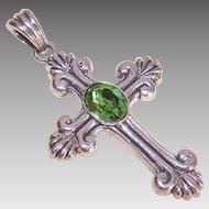 Vintage BARSE Sterling Silver & Rhinestone Cross Pendant!