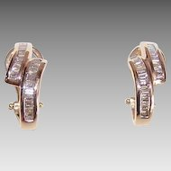 Estate 14K Gold & 1CT TW Diamond Hoop Earrings!
