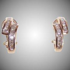 Estate 14K Gold & 1CT TW Diamond Hoop Earrings!