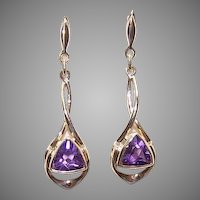Vintage 14K GOLD Earrings - Yellow Gold, Amethyst, Drops, Pierced