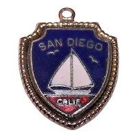 Sterling Silver Enamel City Charm - San Diego California Travel Shield