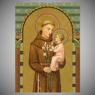 ART DECO German Religious Card - Saint Anthony of Padua!