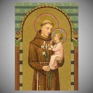 ART DECO German Religious Card - Saint Anthony of Padua!