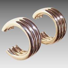 "ESTATE 14K Gold 3/4"" Hoop Earrings - Nice W-I-D-E Fronts!"