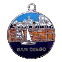 Silverplate Enamel Charm - San Diego, California