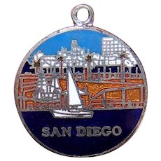 Silverplate Enamel Charm - San Diego, California