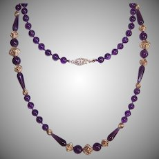 Vintage AMETHYST Necklace - Round Bead, 30 Inch, Rose Gold Findings