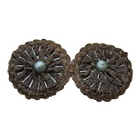 2 French Art Deco Metallic Gold Lace & Silk Floss Millinery Appliques/Trim