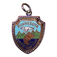 Sterling Silver Enamel State Charm - Minnesota Land of 1000 Lakes