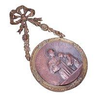 Antique French Bronze Dore First Communion Souvenir - Jesus with Communiante