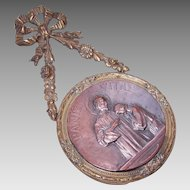 "C.1900 FRENCH Bronze Dore ""Bread of Life"" First Communion Souvenir!"