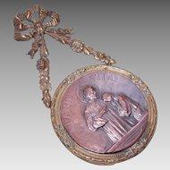 "C.1900 FRENCH Bronze Dore ""Bread of Life"" First Communion Souvenir!"