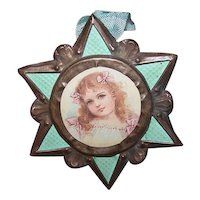 Antique French Religious Star Ornament or Pendant Necklace | Brass Construction with Removeable Center Image