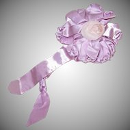 Handmade ART DECO Satin Ribbon Rosette with Silk Rose Center!