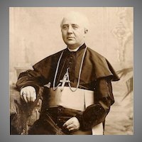 Religious VICTORIAN Sepia Cabinet Photo - Portrait of a Seated Member of the Clergy