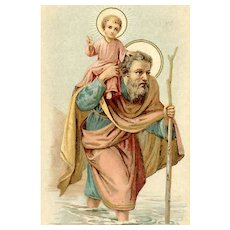 VICTORIAN Religious Card - St. Christopher - Patron Saint of Travelers!