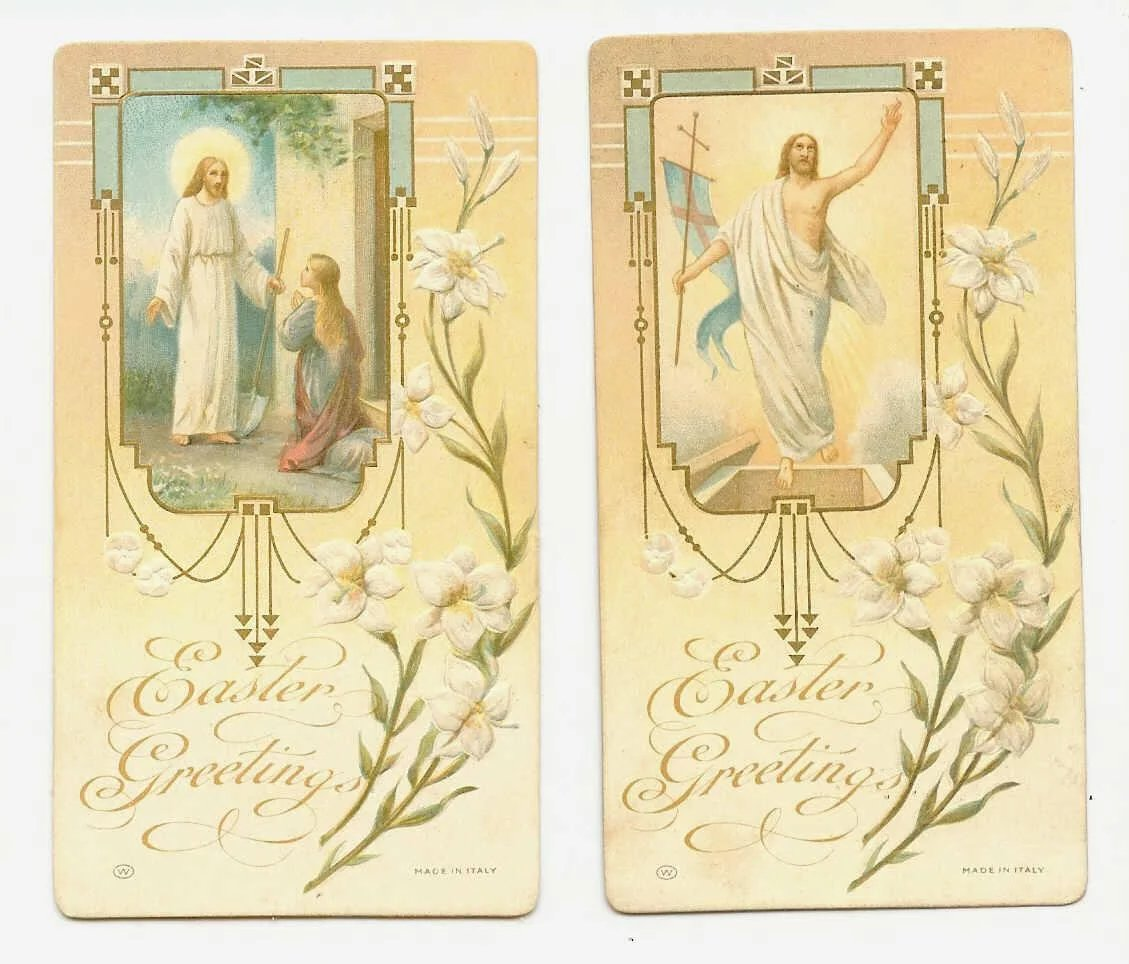 Pair Of Vintage Religious Easter Cards Printed In Italy Robins