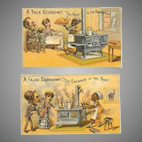 2 Fabulous VICTORIAN Trade Cards - True Economy/False Economy - Black Americana!