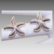 Vintage STERLING SILVER Pierced Earrings - Starfish!