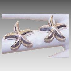 Vintage STERLING SILVER Pierced Earrings - Starfish!