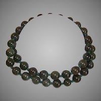 """Vintage 23"""" Green Jade Bead Necklace"""