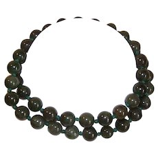 "Vintage 23"" Necklace of Undyed 10mm GREEN JADE Beads!"