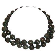 "23"" Green Jade Bead Necklace"