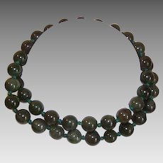 "Vintage GREEN JADE Necklace - 23"" Long, Undyed, 10mm, Bead, Strand"