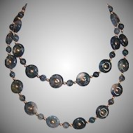"Vintage 26"" Green MOSS AGATE Disc & Round Bead Necklace!"
