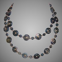 Vintage Moss Agate Bead Necklace Godl Filled Findings