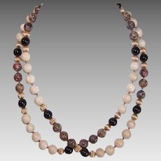 "Vintage AGATE BEAD Necklace - 30"" Long, Moss Agate, Black Onyx, Gold Filled Spacers"