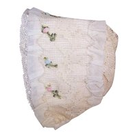 Antique French Baby Bonnet Baby Cap of Silk, Lace and French Ribbonwork Trim
