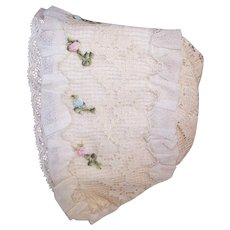 Antique French Baby Bonnet/Baby Cap of Silk, Lace and French Ribbonwork Trim