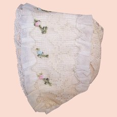 Antique French Baby Bonnet/Baby Cap - Silk, Lace and French Ribbonwork Trim!